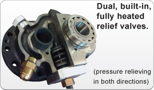 dual built in heated relief valves for pressure relief in both directions